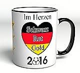 Tasse Im Herzen Schwarz Rot Gold - 2016 - ideales Fan-Geschenk während der Europameisterschaft - EM