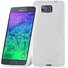 Cadorabo - Samsung Galaxy ALPHA Cubierta protectora de silicona TPU en diseño S-Line - Case Cover Funda Carcasa Protección en SEMI-TRANSPARENTE