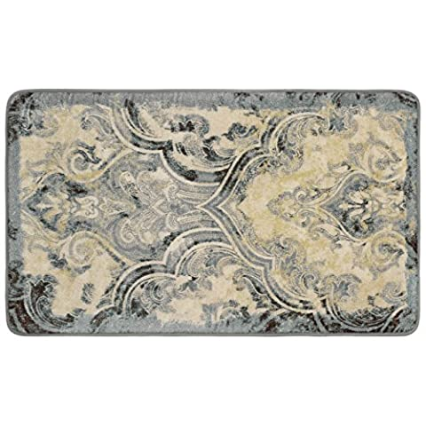 Laura Ashley Daventry High Definition Printed Memory Foam 20 in. x 32 in. Accent Rug in Taupe