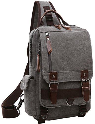 Canvas Crossbody Bag Sling Bag Fahrrad Taschen Sling Rucksack Schulterrucksack with One Strap for Radfahren Wandern Camping (Grau) -