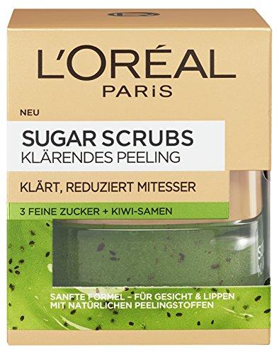 L'Oreal Paris Sugar Scrubs Klärendes Gesichtspeeling, mit Zucker und Kiwi-Samen, reduziert Poren und Mitesser, 50 ml