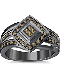 Silvernshine 1.35Ctw Round Cut Citrin Simulated Diamonds 14K Black Gold Plated Engagement Ring