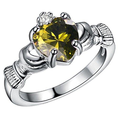 Bling fashion placcato argento 925sei nel mio cuore anello con oliva gemma a forma di cuore, base metal, 19,5, cod.
