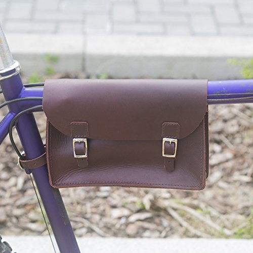 Fahrrad Rahmen Tasche Handarbeit Natur Leder cherry braun 21,8x 16,5x 5,1cm (Leder Rahmentasche)