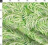 Tropisch, Palme, Grün, Wasserfarben, Blätter Stoffe -