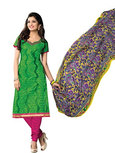 Vibes Women's Cotton Straight Fit Unstitched Salwar Kameez (V90-2213_Green)