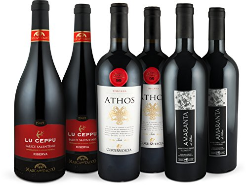 Rotwein-Bestseller-Set Italien | Prämierte Rotweine (trocken) aus Italien | 6 Flaschen (0,75l) Negroamaro, Merlot, Montepulciano | Ideal als Geschenk-Paket oder für den persönlichen Premium-Wein-Genuss