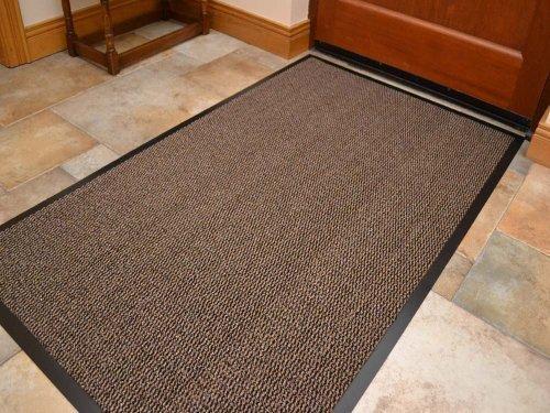 Alfombra Extra Grande Beige Claro Oscuro Marrón Resistente Parte Posterior Borde de PVC Negro Para Entrada de Cocina 90cm x 150cm