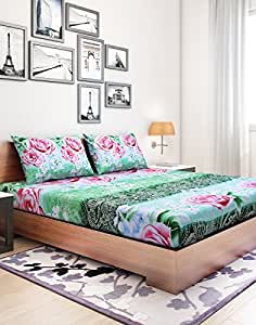 Elegance Floral Light Green Cotton Double Bedsheets