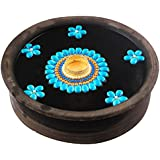 Bombay Haat Handcrafted Tealight Candle Holder / Floating Diya / Diwali Diya With 5 Preety Flowers For Home Décor And Diwali Gifting ( Firozi )