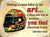 Valentino Rossi Helm, Motorrad, Rennrad Metall/Stahl Wandschild - 9 x 6.5 cm (Magnet)