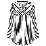 CICIYONER Damen Hemd Top Gestreiftes Langarm V-Ausschnitt Lässig geknöpftes Top Bluse