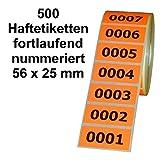 500 Etiketten / Aufkleber auf Rolle - LEUCHTROT - fortlaufend nummeriert - 56 x 25 mm