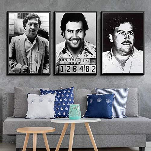 manbgt Pablo Escobar Charakter Legende Retro Vintage Poster Und Drucke Malerei Wandkunst Leinwand Wandbilder Für Wohnzimmer Wohnkultur40 cm X 60 cm Kein Rahmen