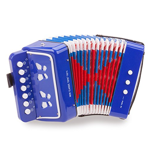 Eitech GmbH New Classic Toys - 10056 - Musikinstrument - Akkordeon mit Musikbuch - Blau
