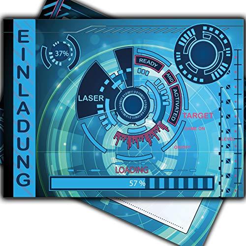 Einladungskarten Spielkonsole Kindergeburtstag Lasertag Game on Gamer Gaming Einladung Mädchen Jungs Kinder Computer Controller Galaxy Tablet Handy Laser-Schwert Comic Geburtstag Party