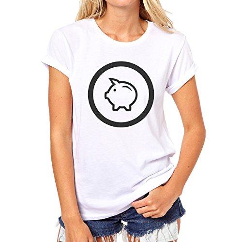 Pig Animal Farm Hog Logo Cute White Black Damen T-Shirt Weiß