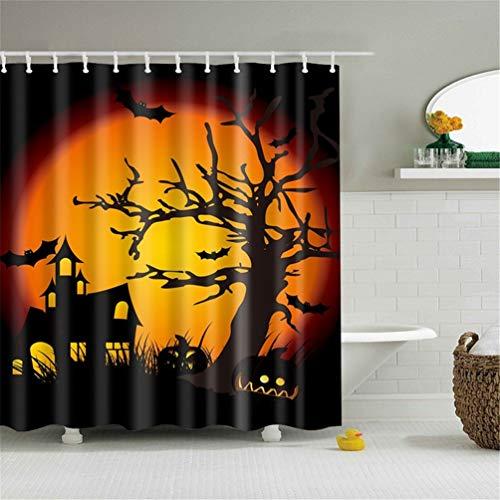 Feidaeu DuschVorhang Halloween 3D Bedruckte Schloss Badezimmer Vorhang setzen Wasserdichten Polyester-BadeVorhang mit 12PC-Haken (Psycho Kid Halloween)