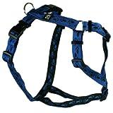 Feltmann-Kreuzgeschirr Softband blau mit schwarzen Pfötchen 40-60 cm