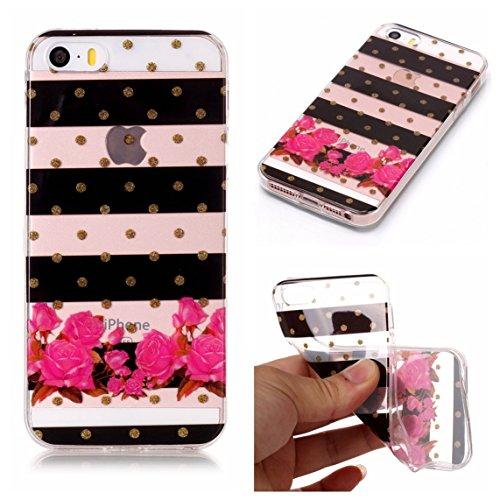 iPhone 5S Hülle, Voguecase Silikon Schutzhülle / Case / Cover / Hülle / TPU Gel Skin für Apple iPhone 5 5G 5S SE(Bunt Schmetterling 07) + Gratis Universal Eingabestift Streifen/Blumen