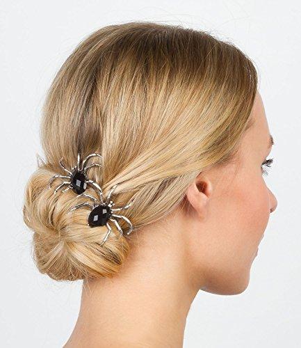 six-halloween-2er-set-silberfarbene-haarspangen-mit-spinnen-aus-schwarzen-kristallsteinen-uns-weisse