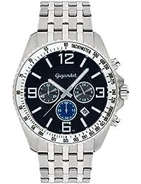 Gigandet Quarz Herren-Armbanduhr Fast Track Chronograph Uhr Datum Analog Edelstahlarmband Silber Schwarz G12-009