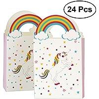 YeahiBaby bolsas de papel del unicornio 24pcs con el arco iris manejan las bolsas del caramelo