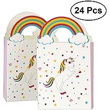 NUOLUX 24Pcs unicornio Las bolsas de papel con el arco iris manejan las bolsas del caramelo