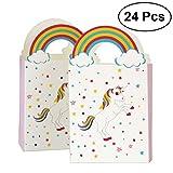 TOYMYTOY Sacs de traitement de fête Licorne Anniversaire Sacs-cadeaux de licorne de fête Sacs de faveur de papier-cadeau Pack de 24
