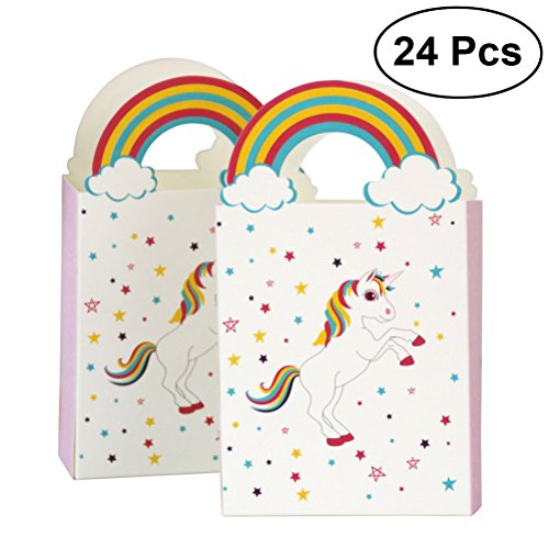 YeahiBaby bolsas de papel del unicornio 24pcs con el arco iris manejan las bolsas del caramelo del regalo del partido