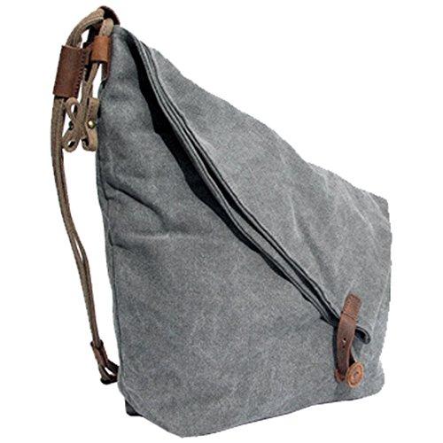Partiss Unisex koreanische Tasche retro literarischen Hochschule Stil Schultertasche Messenger Bag Grau