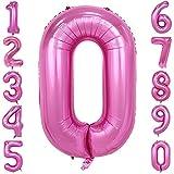 40-Zoll 0-9 in Rosa Nummer Foil Ballons Helium Zahlenballon Luftballon Riesenzahl Party Hochzeit Kindergeburtstag Geburtstag Nummer 0