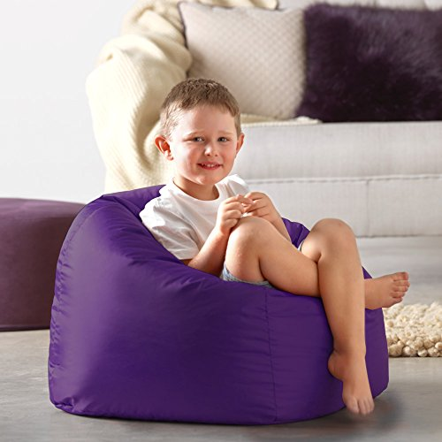 Hi-Rest Bean Bag Chair - Extra Large Bean Bag Chairs for Kids and Teens - Indoor Outdoor Childrens Bean Bags - Big Kids BeanBag Seats (Purple, Medium)