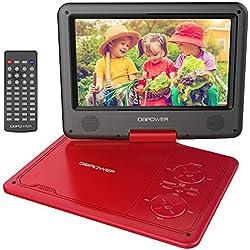 """DBPOWER 11.5"""" Lecteur DVD Portable, Pile Rechargeable de 5 Heures, avec écran orientable, compatibilité Carte SD et Interface USB, lit Directement Les formats AVI, RMVB, MP3 et JPEG (Rouge)"""