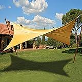 Tenda ombreggiante vela quadrata ecrù verde copertura sole ombra giardino (Ecrù 824/3)