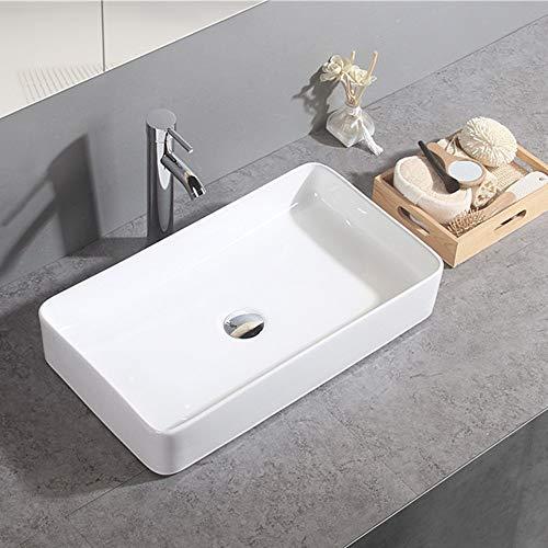 Gimify Keramik Aufsatzwaschbecken eckig Waschtisch für Badezimmer 60x34x10.5cm