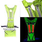 LED Reflective Vest, High Visibility Safety Running Vest, Glow in the Dark Reflective Running Gear for Running Cycling Jogging Biking Men Walking