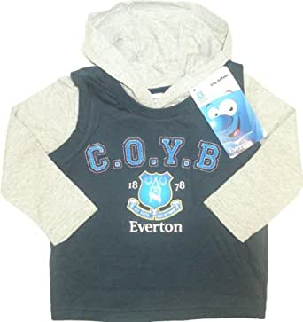 Everton Football Club Baby Boy's Vest with Hoody With 'COYB'Crest and Club Motto Blue/Grey 18-23months