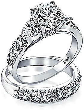 Bling Jewelry 925er Silber Klar CZ Herz Seite Steine Verlobungsring Ehering Set