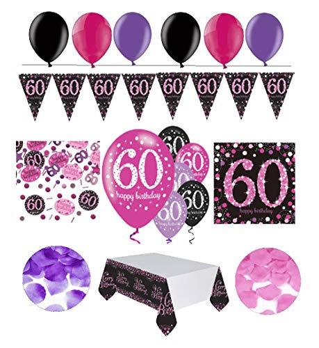 Feste Feiern Geburtstagsdeko 60. Geburtstag | 31 Teile Deko-Set Luftballon Wimpel Girlande Konfetti Serviette Tischdecke Pink Schwarz Violett metallic Party-Set