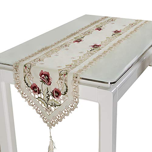 uropäischen Blumen Tischläufer Spitze Elegant Runner Schrank Raum Wohnzimmer Dekoration 16*69 inch Rose ()