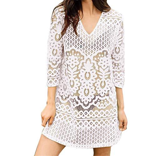 CixNy Damen Mode Weiß Bluse abdecken Badeanzug Tops Spitze Patchwork Bikini-Sets Bikinioberteil Bademode BH Badebekleidung Strand Tankinis Sommer Swimwear Kittel Bikinis