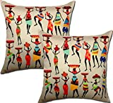 Viceroy, African Girls Designer Digital Print 3D King Size Cushion Covers | 3D Big Size Cushion Covers 24x24 inch | 60x60 Cm (Set | Pack of 2pcs)