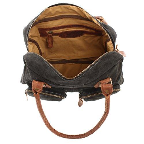 LECONI Schultertasche Wildleder Veloursleder Henkeltasche Retro Damentasche Leder Handtasche Used Look 33x21x9cm LE0046-VL anthrazit / braun