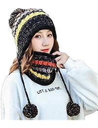 Aisaving Sombrero y Bufanda Mujer Invierno Conjunto de Bufanda de Punto  Girls Beanie Hat Caliente Gorras c43ab26aa9c