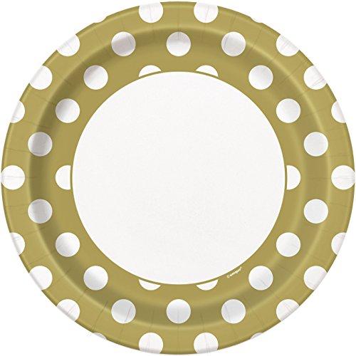 Unique Party Paquete de 8 platos de papel a lunares Color oro 37295