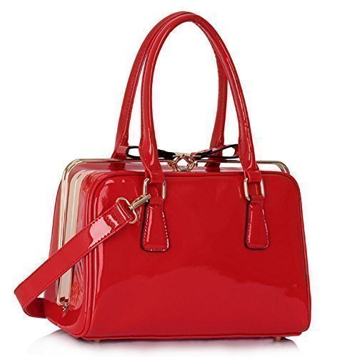 TrendStar Neuen Frauen Entwerfer Sackt Damen Mode Handtaschen-Taschenpatentschulterkunstleder Promi-Stil (Zip Satchel Zurück)