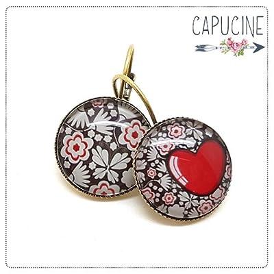 Boucles d'oreilles avec cabochon fleurs et coeur - Boucles d'oreilles dormeuses coeur et fleurs - Le Cœur en Fleurs