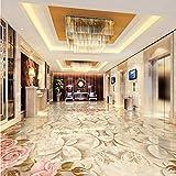 Rureng Benutzerdefinierte Marmorfliesen Parkett Mural 3D Stereo Schlafzimmer Wohnzimmer Hotel Selbstklebende Bodentapete-280X200Cm