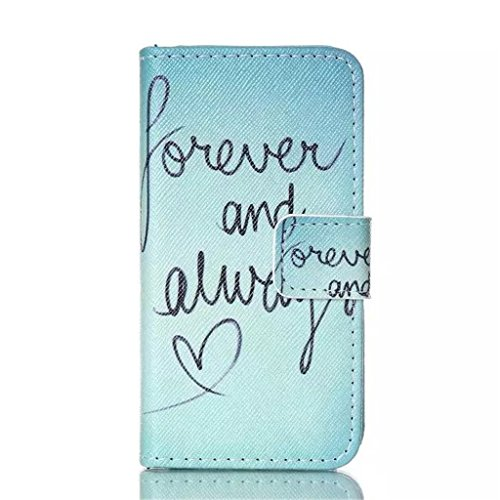 Gift_Source iPhone 4 hülle, iPhone 4S hülle, Brieftasche Ledertasche Bookstyle Schutzhülle Leder Flip case Etui für Apple iPhone 4/4S [ Eat Glitter Breakfast and Shine All Day ] E01-01-Forever and always